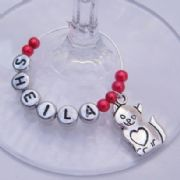 Cat Heart Tummy Personalised Wine Glass Charm